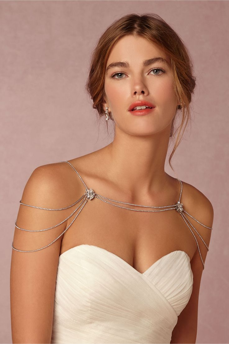 """Reina"" Swarovski Crystal/Rhodium Plated Filigree Metal Shoulder Necklace by Sara Gabriel for BHLDN"