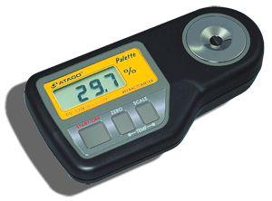 http://www.termometer.se/SugarMaster-DIG-PR301-ALPHA-ATAGO-45-900-BRIX.html  SugarMaster™ DIG PR301 ALPHA, ATAGO, 45-90,0% BRIX  PR-301a ( alpha ) är designad för att mäta höga koncentrationer av sockerhalt mellan Brix 45 till 90.0%, med en noggrannhet på Brix ±0.1% i temperaturområdet 5 till 40°C. Den kan mäta Brix-värdet i koncentrerade fruktjuicer, mycket söta livsmedel och drycker såväl som kemikalier inom industrin t.ex. oljor, rengöringsmedel och kylarvätskor...