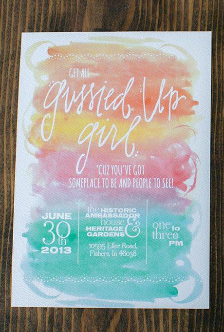 Brides.com: . Custom rainbow watercolor wedding invitation, price available upon request, Turquoise Feathers Studio