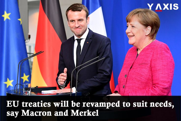 Speaking at a joint press conference after holding discussions with #Macron, #Merkel said that it is accepted that the focus must shift beyond the exit of the #UK from #EU. #WorkVisaGermany #YAxis #YAxisImmigration