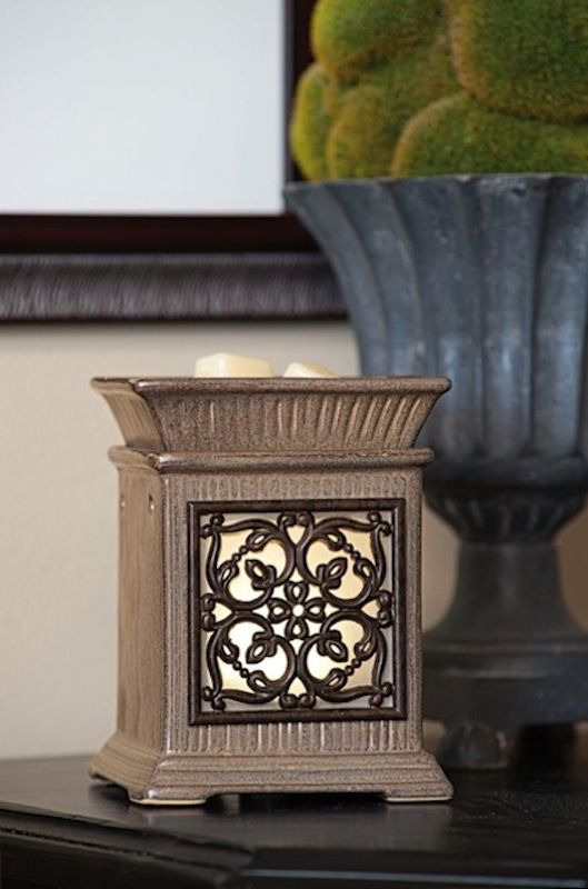 Scentsy Jane Warmer - Scrolling, wrought-iron details frame Jane's romantic glowing window, set in an Edwardian-inspired column. The Jane warmer is the perfect gift for anyone, it really is a beautiful scentsy warmer #scentsyjane #scentedcandles #wicklesscandles #safecandles - change the flag in the corner of the screen for the countries flag you want to buy from