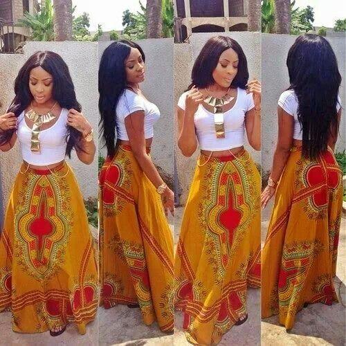 Long Butterfly Ankara Skirt -