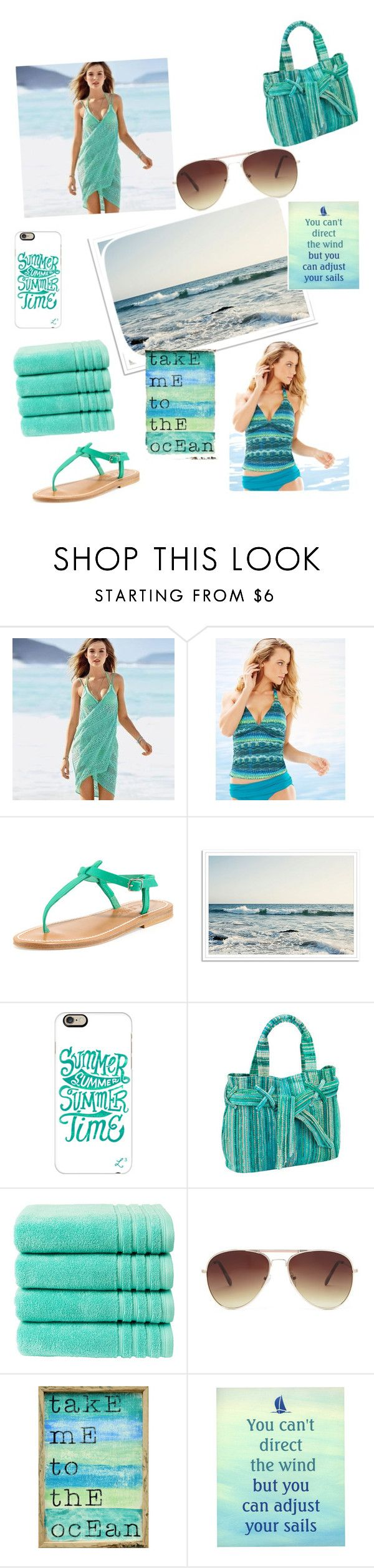 """""""Beach outfit, read the d!"""" by luv-panda ❤ liked on Polyvore featuring Sunset Hours, La Blanca, K. Jacques, Casetify, Elaiva, Christy, Forever 21, Pink Marmalade, women's clothing and women's fashion"""