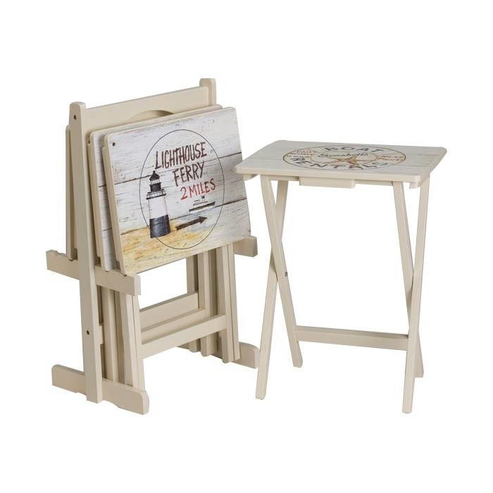 Wood Folding Tray Table With A Beach Inspired Motif. Product: Set Of 4 Tray  Tables And StandConstruction Material: Engineered WoodColor: Distressed ...