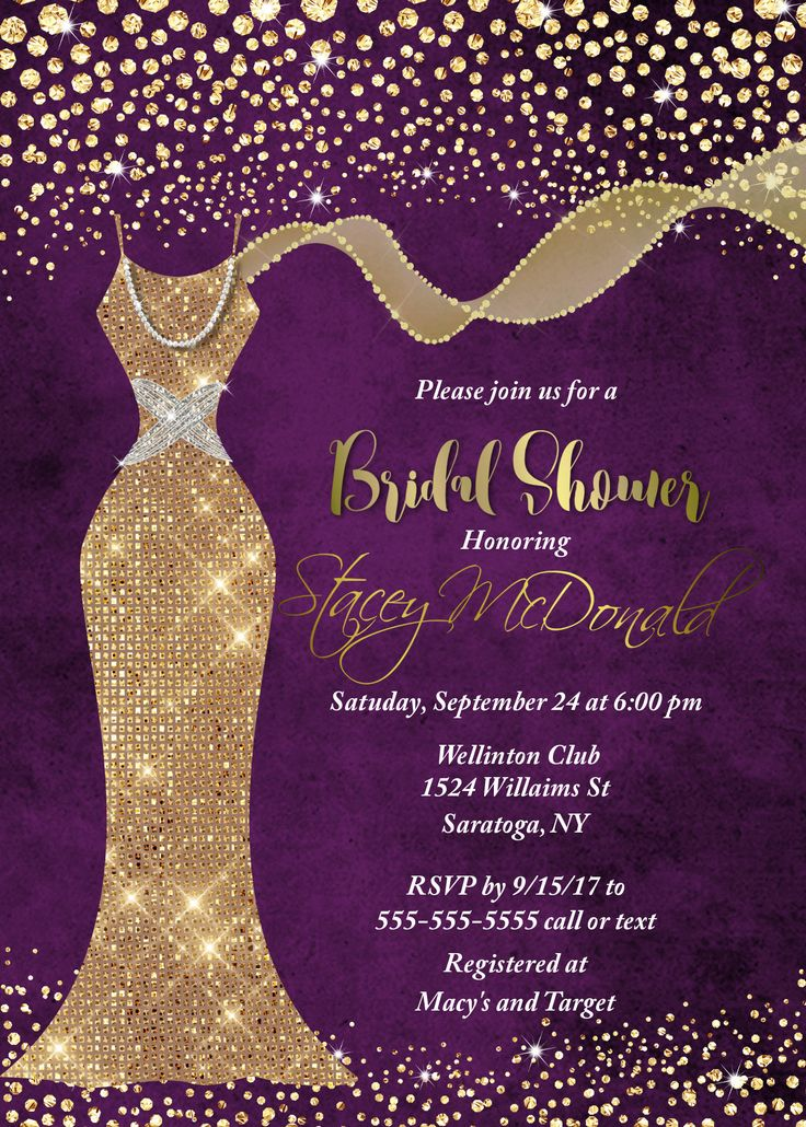 Purple and Gold Bridal shower invitation, Bridal Shower Invitation Wedding dress Invitation Wedding Shower  Wedding dress, Glitter Invite by GooseCornerGreetings on Etsy