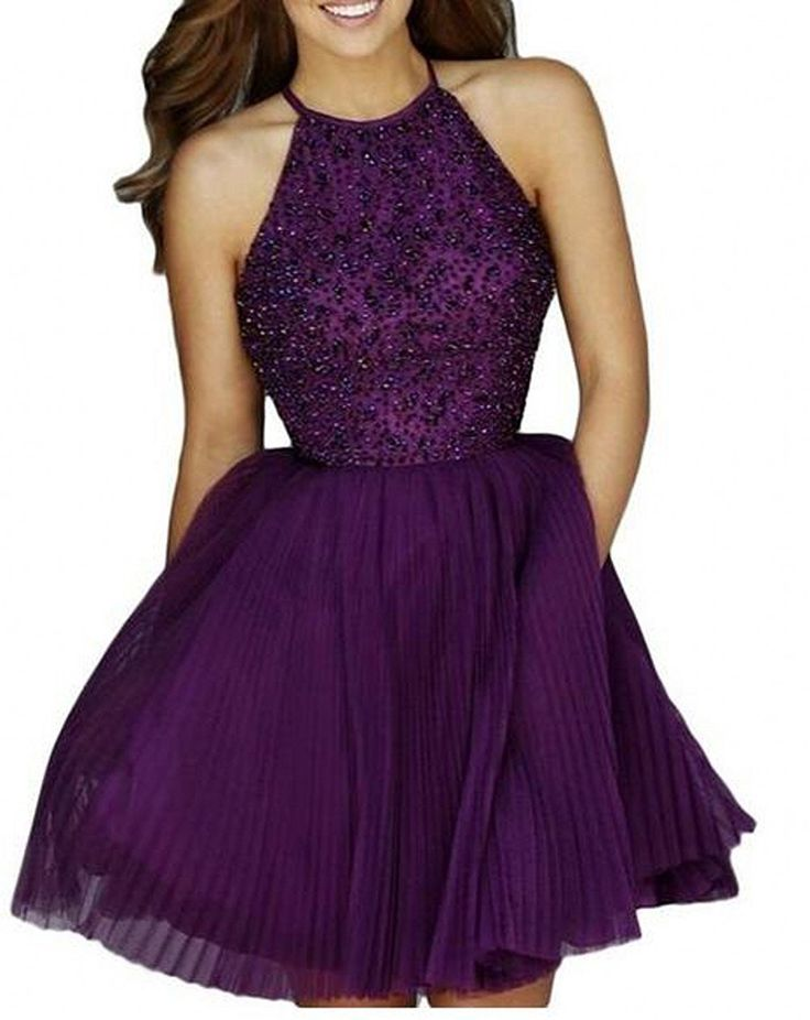 Botong Short Beaded Halter Homecoming Dress Tulle Prom Party Gowns: Amazon.ca: Clothing & Accessories