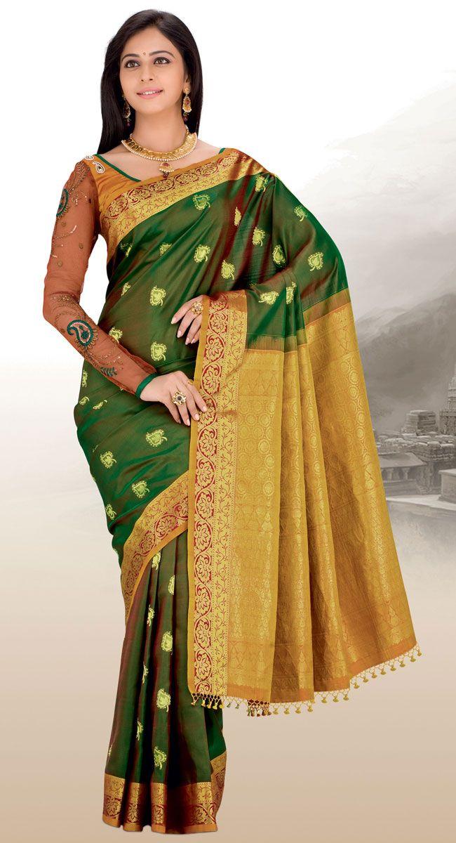 Green Banarasi Silk Saree 19899 With Unsched Blouse