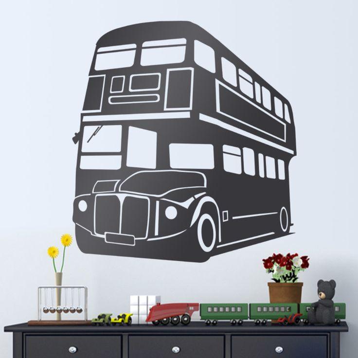 Vinilos Decorativos: Autobús londinense de 2 pisos #academia #inglés #autobus #bus #double-decker #rojo #Londres #vinilo #pared #decoracion #TeleAdhesivo