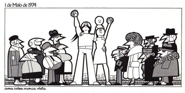 """João Abel Manta, Título: """"Uma coisa nunca vista"""", viñeta realizada para el 1º de mayo de 1974, a los pocos días del 25 de abril. Los personajes de la derecha representan la burguesía enojada y los de la izquierda las clases populares sonrientes. """"Una cosa nunca vista"""", como se titula la viñeta, hace alusión a que después de décadas de dictadura la clase trabajadora pudo manifestarse el Primero de Mayo."""