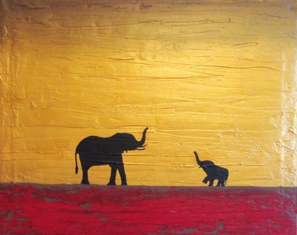 "original abstract landscape ""elephants, at sunset"" africa animal painting art canvas -16 x 20"" 3 other sizes available"