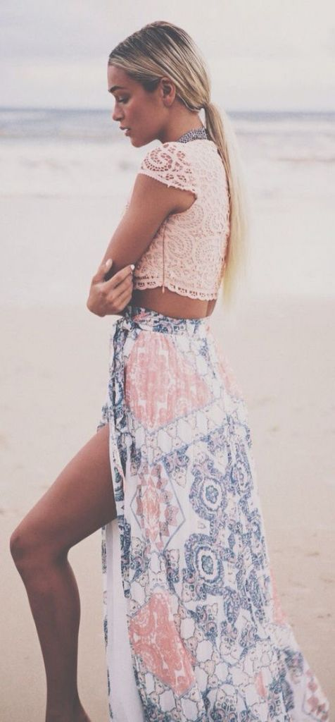 Summer fashion   Crochet crop top, maxi skirt