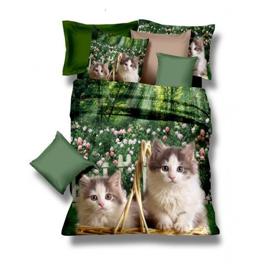Zelené 3D posteľné obliečky s malými mačkami v prírode