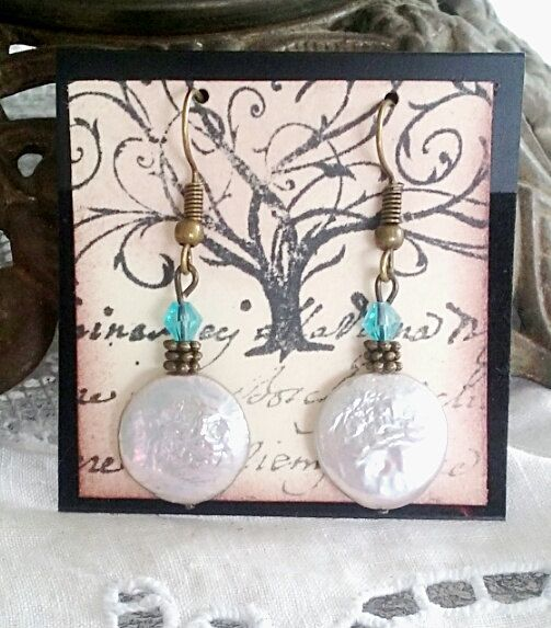 Fresh water pearl earrings with teal bicone crystal, pearl earrings, bronze earrings, summer earrings by TheLoveOfEarrings on Etsy
