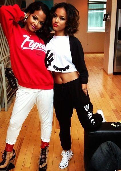Swag Girls. Sweatpants. Sweatshirts. Sneakers. Converse. Hip Hop Fashion. Dope. Trill. Urban Fashion. Hip Hop Outfits. Christina Milian and Karrueche Tran Style