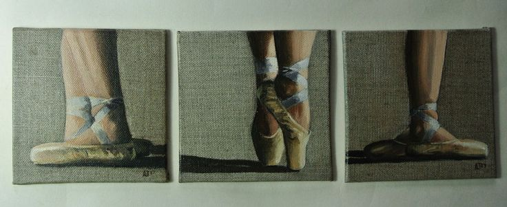Ballet Shoes Painting, Triptych, Ballerina,Miniature, Three Originals by AJ #Impressionist #ballershoes #ballerina #dancer