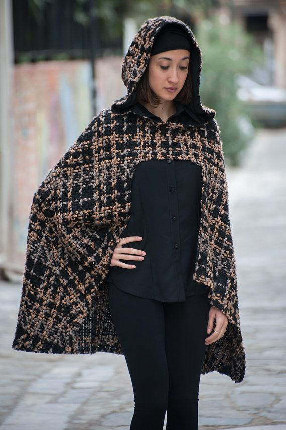 hooded cape kapuzen cape asymmetrical with a by paraskeloufashion