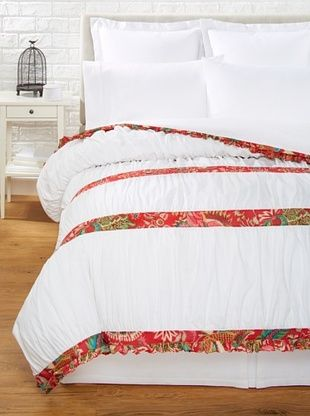 75% OFF India Rose Kathryn Duvet Cover, White/Red, Queen