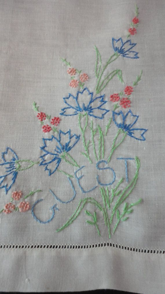 Vintage Guest Hand Towel Embroidered in Blue by preservinghome,