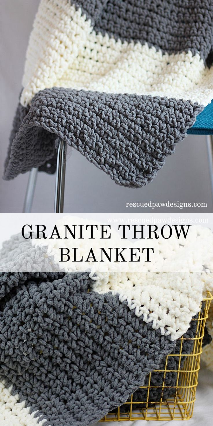 The Granite Crochet Throw Blanket - Free Crochet Blanket Pattern from Rescued Paw Designs www.rescuedpawdesigns.com