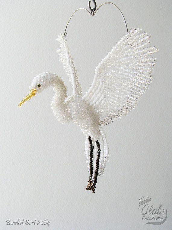Egret Suncatcher, Beaded Egret Ornament, Egret Necklace, Window Decor, Bird Lover Gift, Figure, Car Charm, Beaded Bird, Great Egret / BB#084