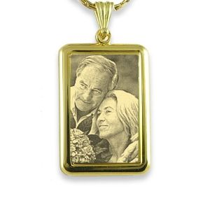 Gold Plate Large Mounted Personalised Portrait Photo Pendant