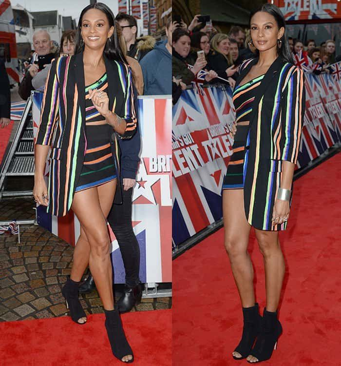 "Alesha Dixon wore a striped outfit coupled with a pair of Gianvito Rossi ""Vires"" boots at the ""Britain's Got Talent"" Blackpool auditions."