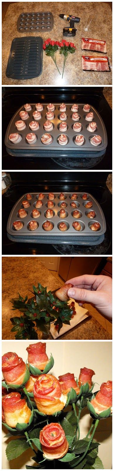 kiss recipe: Bacon Roses:  For that special someone in your life who loves bacon! ;)