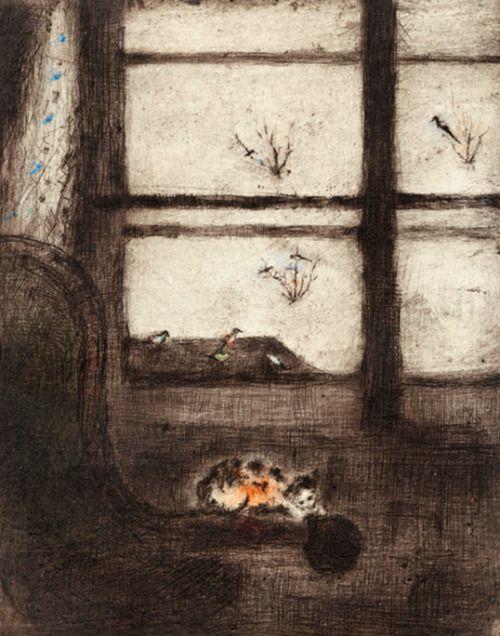 Winter Still Life - Bohuslav Reynek , 1950  Czech, 1892-1971  drypoint with monotype, paper, 594 x 840 mm
