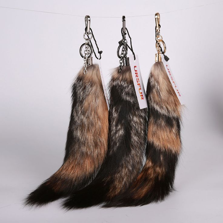 URSFUR New Genuine Fox Tail Keychain Fur Tassel Bag Tag Charm Key Ring Hook | eBay