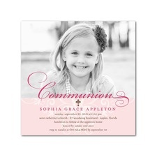 Invite for First Communion - I like the black and white photo idea - it's a hint of what's to come without giving away what the little communicant will be wearing