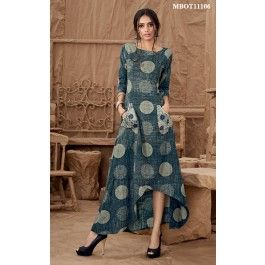 Dark Blue Asymmetrical Kurti Graced with captivating print, asymmetrical hemline and coupled with pockets.This dark blue asymmetrical kurti is enhanced with embroidery detail on the pockets and wooden butterflies.Style this with silver bracelets and jhumkis.