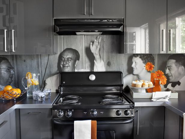 How to Create a Vinyl Photo Backsplash - I like this idea for the kitchen in the guest house.
