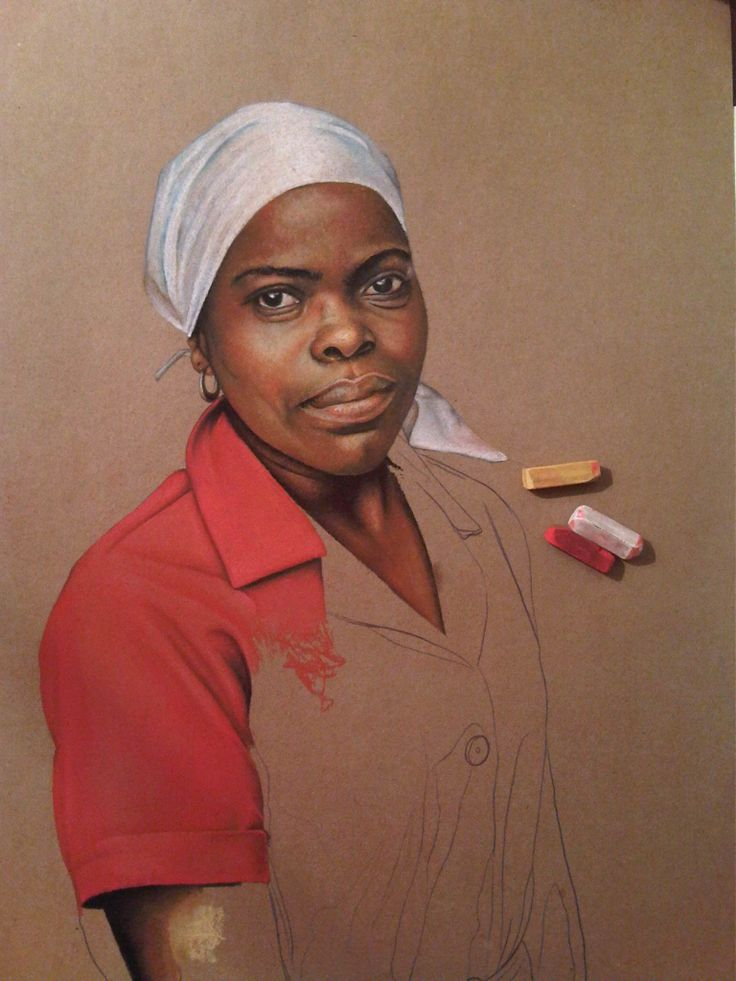 My domestic worker drawn in chalk pastel - in those blocks right next to the drawing.