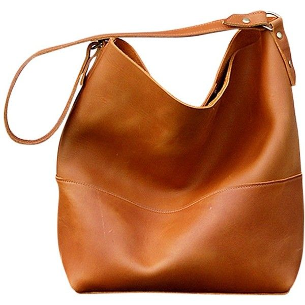 Bubo Handmade Catalina Leather Hobo Bag (£115) ❤ liked on Polyvore featuring bags, handbags, shoulder bags, brown shoulder bag, hobo shoulder bag, hobo purse, distressed leather handbag and genuine leather handbags