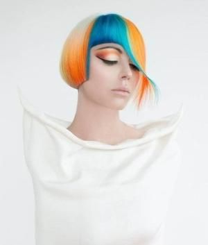 Modern edgy hair color, futuristic look, colorful hair, girl in white, modern fashion by FuturisticNews.com