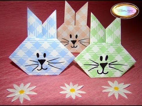 Elle fait quelques plis dans du papier! Elle réalise un magnifique lapin de Pâques! Un bricolage facile à réaliser! - Trucs et Bricolages