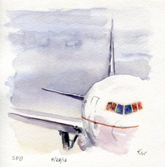 Original watercolor painting (not a print!) sketched and painted at the San Francisco Airport.  Size of paper: 6x6 Size of artwork: Approximately the size of paper  Paper specs: Fluid 140lb Cold Press Watercolor Paper  Painted with professional artist grade watercolors, this painting comes unmounted and unframed. While the quality of the materials should ensure longevity, artwork is best hung out of direct sunlight.  Colors may vary slightly based on your monitor, though each high resolution…