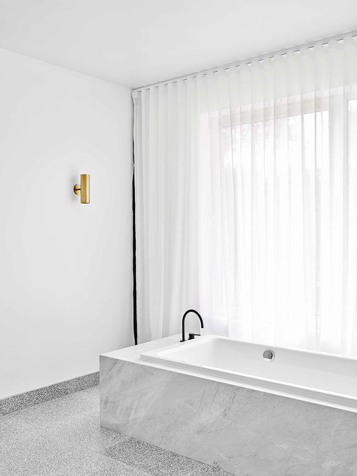 Fibonacci Terrazzo Stone Tile, bathroom floor in black, white, & grey, marble & white