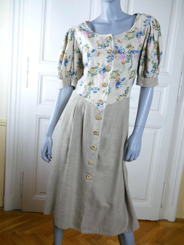 Bavarian Vintage Linen Trachten Dress, Cream Floral Bodice w Blue Gold Pink Flowers, Tan Pleated Skirt, German Clothing: Size 14 US, 18 UK by YouLookAmazing on Etsy