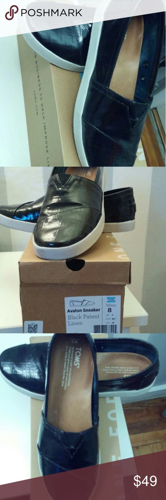Black leather Toms. Worn one time. Avalon Sneaker in Black Patent Leather. Only worn once. TOMS Shoes Sneakers