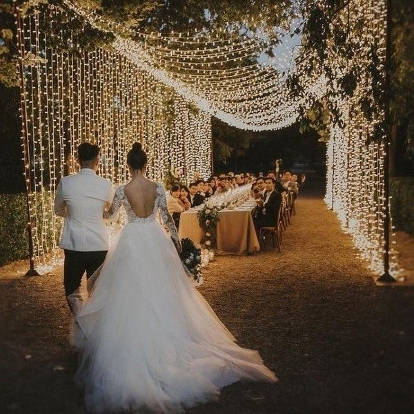 Creative Wedding Ideas For A More Unique Event Wedding Lights Backyard Wedding Wedding Dinner Music