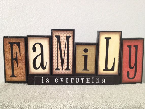 Decorated Wooden Letters In The Word Family