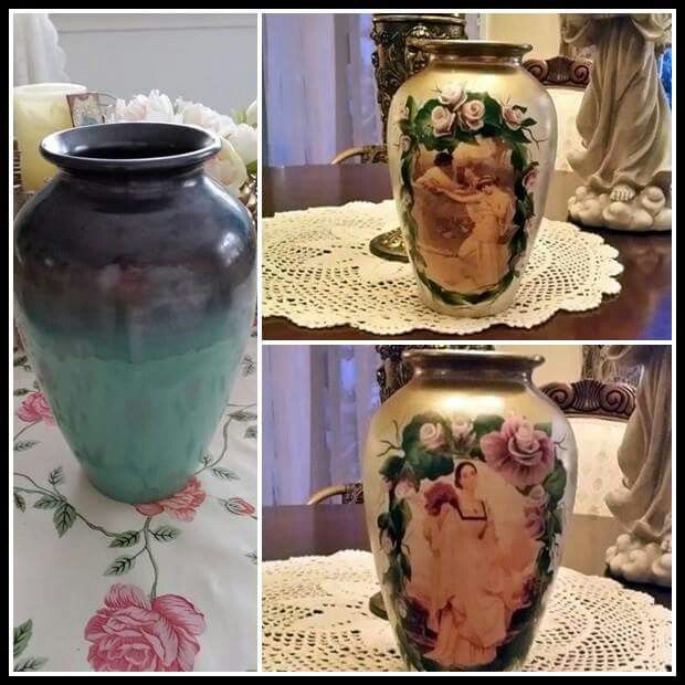 An old vase saved. Spraypaint, decoupage and handpainted roses.   Enjoyed every minute.