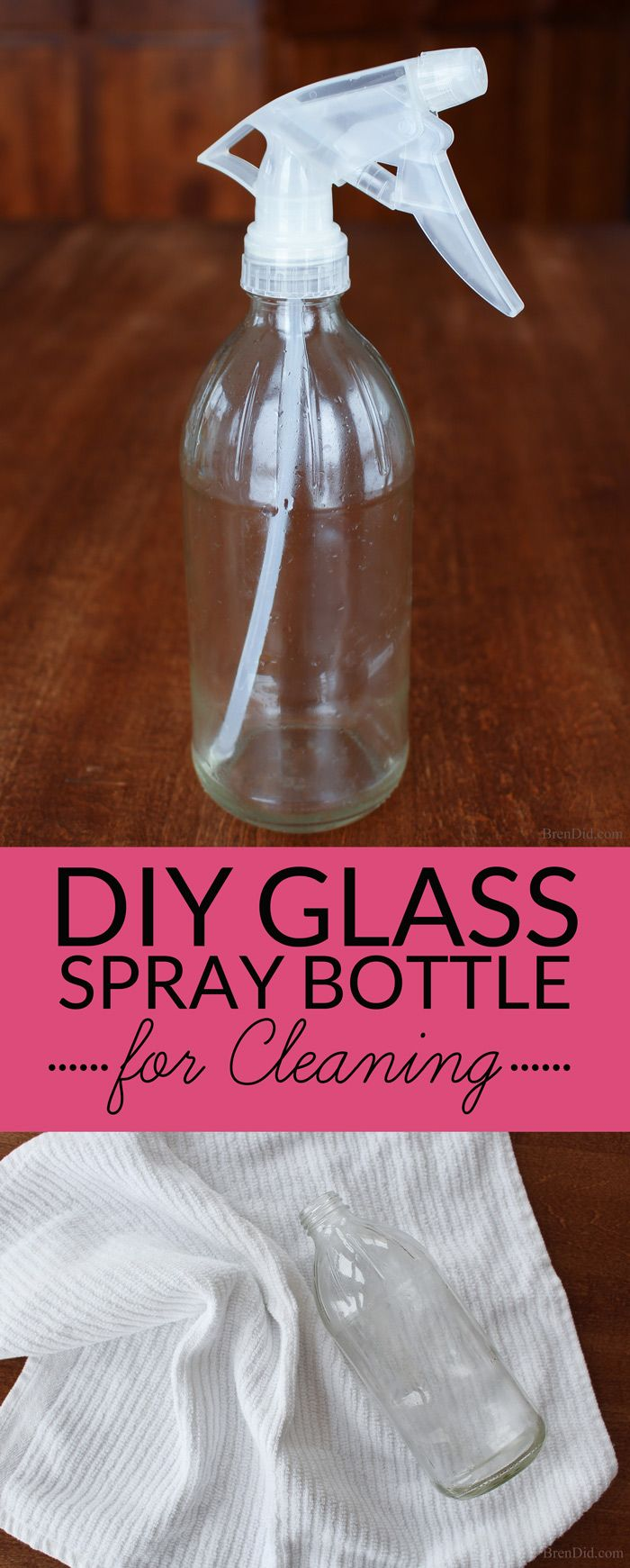 Get spray bottles for all your natural DIY cleaners for FREE with this easy upcycled project. Glass spray bottles do not react with essential oils and other green cleaning ingredients and are recommended by green cleaning experts.
