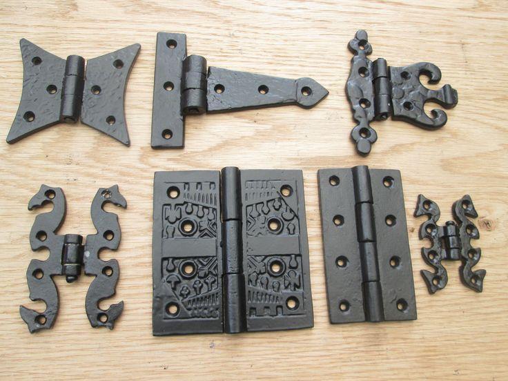 1 pair cast iron black antique kitchen cabinet cupboard for Black hinges for kitchen cabinets