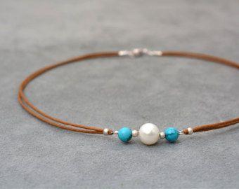 Ónix negro y blanco collar de perlas con plata 925 cortas