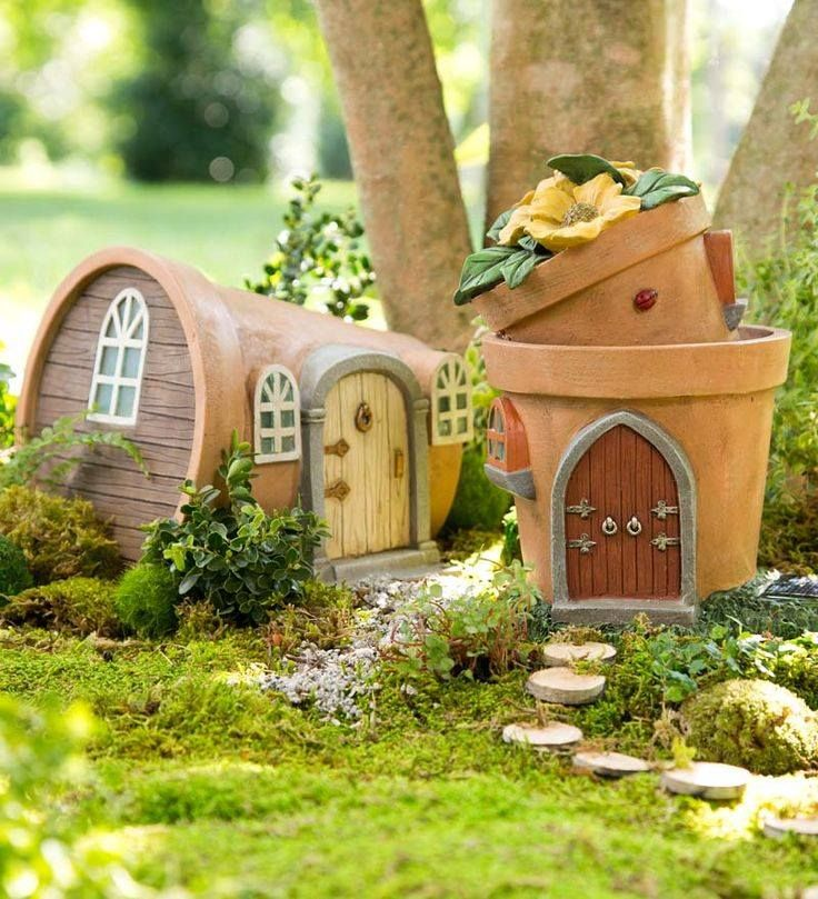 Fairy houses from terra cotta pots.