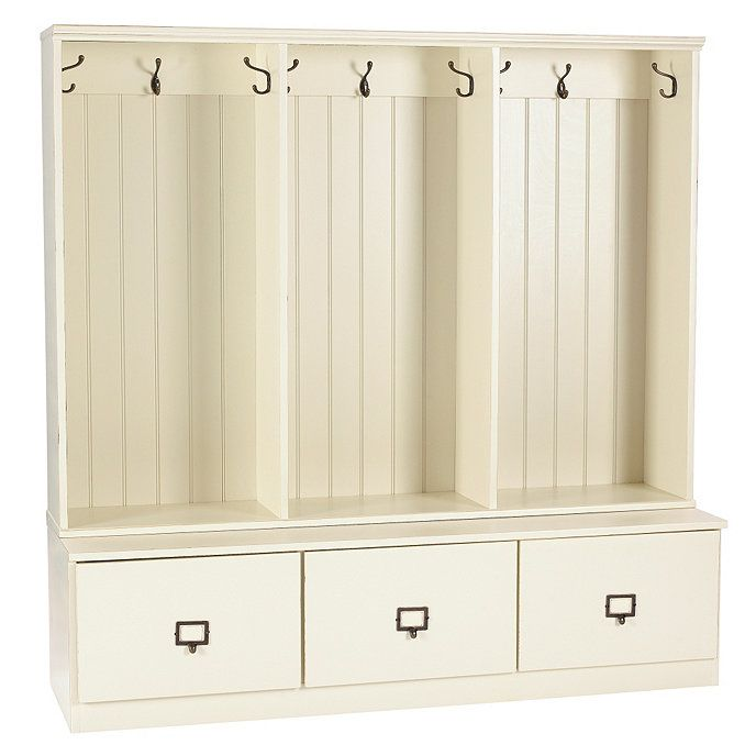 """Beadboard Entryway Cabinet - Set of 3 - 60"""" W.  would need separate bench (?)"""