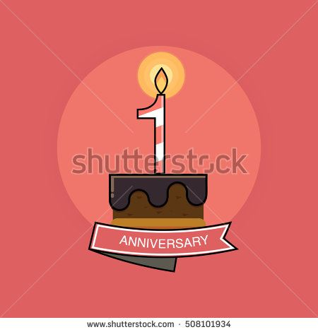 1 Colorful Birthday Candles number, Anniversary Logo Design Isolated on Pink Background