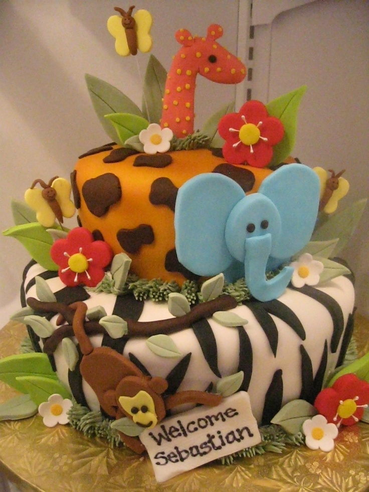 baby shower cakeJungles Baby, Baby Cake, Jungles Theme, Cake Ideas, 1St Birthday, Jungles Cake, Animal Cake, Birthday Cake, Baby Shower Cake
